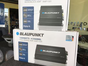 Car audio amplifier bundle deal 1500w 4 channel amplifier. And 1500 mono block class d amplifier. All brand new finance available 100 days to pay no for Sale in Newark, CA