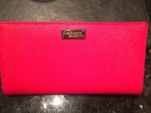"NEW Kate Spade Wallet-Unused. Snap Closure,12 Credit Card Slots,ID Slot,2 Billfold Compartments, Back Zippered Coin Compartment. Red. 3 1/2"" x 6"". Pi for Sale in Dublin, OH"