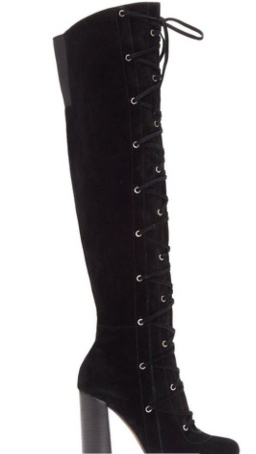 f1b622dce2e Vince Camuto Thanta Suede Lace Up Block Heel Over The Knee Boots Size 7