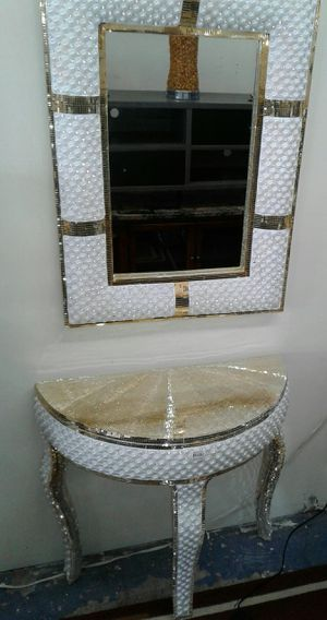 Gold console table with mirror $499. Single mirror $299. for Sale in Kirklyn, PA