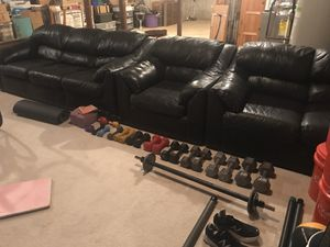 3 piece black leather sofa from Bloomingdales for Sale in Manalapan Township, NJ