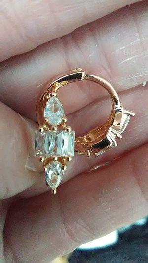 18K gold filled white sapphire diamond shape earrings for Sale in Lombard, IL
