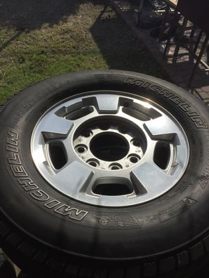 """Rims 17"""" of 8 lugs and tires michelin 1/4 of life for Sale in Ayr, ND"""