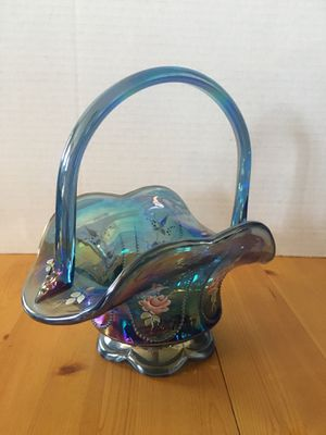 Fenton Vintage USA Blue Iridescent Basket Hand Painted Dianna Barbour Carnival Glass for Sale in Wilmington, CA