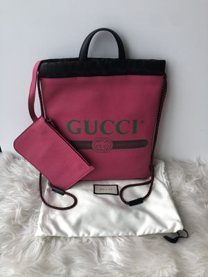 Authentic Gucci LOGO printed leather drawstring for Sale in San Diego, CA