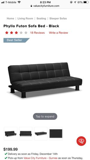 Phyllo futon sofa leather bed for Sale in Round Lake Beach, IL