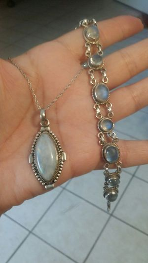 Genuine Rainbow Moonstone Necklace and Bracelet Set in .925 Sterling Silver! for Sale in PT CHARLOTTE, FL
