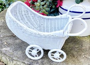 Vintage White Woven Boho Wicker Rolling Carriage Plant Flower Planter Vase Home Garden Decoration Accent for Sale in Chapel Hill, NC