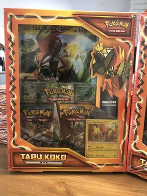 Pokemon Tapu Koko Box - boosters Packs Jumbo promo holo Factory Sealed Brand New for Sale in Monterey Park, CA