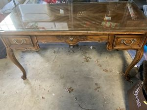 Antique desk with glass top for Sale in Vienna, VA