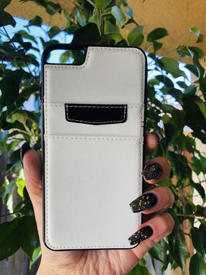 Brand new cool iphone 6+ PLUS case cover rubber leather wallet mens guys hypebeast hypebae womens girls hype swag WHITE & BLACK for Sale in San Bernardino, CA