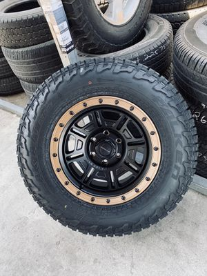 17x9 New centerline time and Falken at3w Tires 2657017 for 6 lug Chevy gmc Toyota for Sale in Modesto, CA