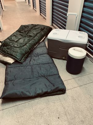 Camping coolers sleeping bags for Sale in Fallbrook, CA