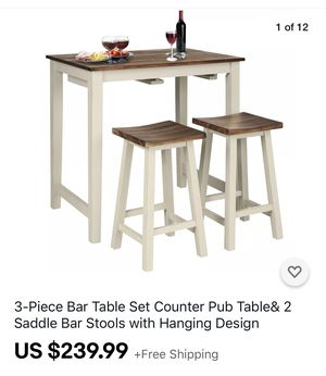 3 piece pub bar table with stools for Sale in Fresno, CA