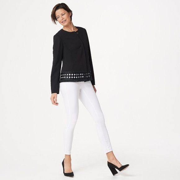 Luxe Crepe Button Front Jacket with Fringe Trim