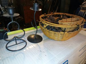 Small wicker basket with pine cones and fragrance material 2 candle holders for Sale in Phoenix, AZ