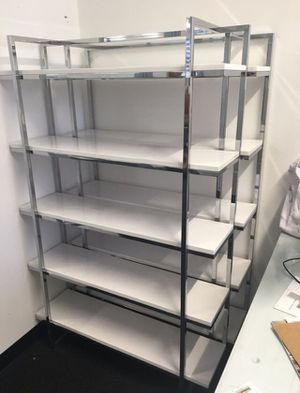 Eurway beautiful white lacquer & chrome office/ retail 5 tier shelf units retail $1080 for Sale in San Diego, CA