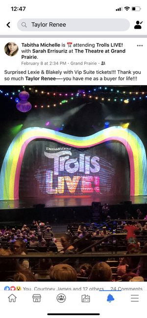 TROLLS live tickets suite : includes vip parking for Sale in Arlington, TX