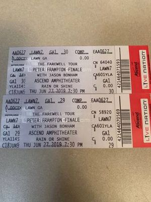 2 tickets to Peter Frampton at Ascend Amphitheater 8/29 for Sale in Murfreesboro, TN