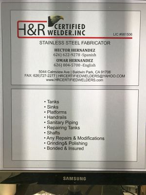 Stanlees steel fabricator and repair H&R certified welders INC for Sale in Baldwin Park, CA
