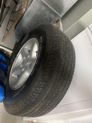 Jeep Wrangler TJ Cherokee WJ XJ 5 Spoke Flat Aluminum Rim Wheel 15x7 5x4.5, and tire. Spare. for Sale in Oswego, IL