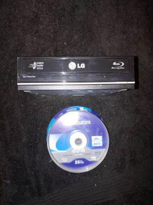 LG Super Multi Blue Blu-Ray Disc Rewriter and 25 Recordable Blu Rays for Sale in Spring Hill, FL