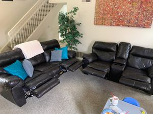 Dark Brown Couch Set, Reclining with Console and Cup Holders for Sale in Santa Ana, CA