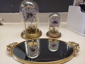 Gold clocks and vanity mirror tray for Sale in Laguna Niguel, CA