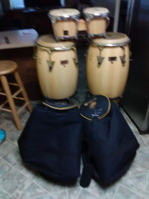 Two Latin percussion congas with bongos carrying case for the conga and Stan as well for Sale in Hartford, CT