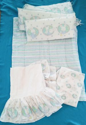Vintage Cuddle Time Baby Bunny Crib Set Made in USA for Sale in Tolleson, AZ