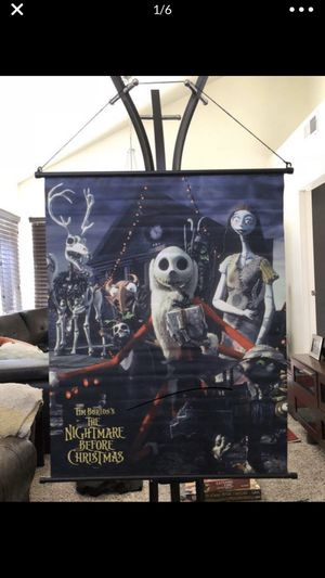 "NECA ORIGINAL The Nightmare Before Christmas 27"" x 34"" Fabric Wall Scroll Poster LIMITED EDITION RARE DISCONTINUED - BULK LOT WHOLESALE - HALLOWEEN S for Sale in Fontana, CA"