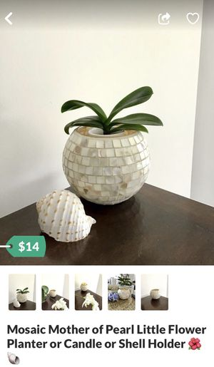 Mosaic Mother of Pearl Little Flower Planter or Candle or Shell Holder 🌺🐚 for Sale in West Palm Beach, FL
