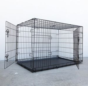 "(NEW) $65 Folding 48"" Dog Cage 2-Door Pet Crate Kennel w/ Tray 48""x29""x32"" for Sale in South El Monte, CA"