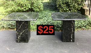 2 Faux Black Onyx Marble End Tables for $25 for Sale in Arlington Heights, IL