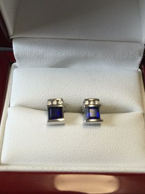 10K White Gold Earrings with sapphire and 3 diamonds, Beautiful! for Sale in Portland, OR