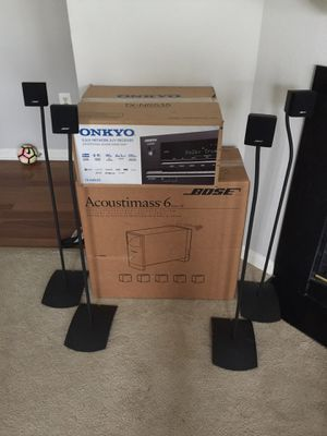 Bose Acoustimass 6 with orginal stands and Onkyo TX-NR 535 for Sale in Alexandria, VA