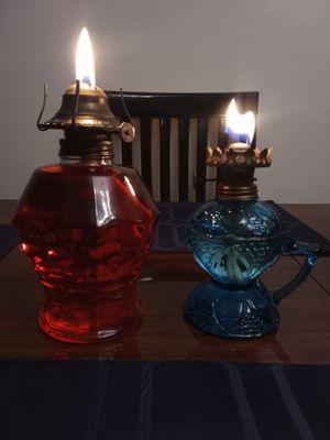 Lot of 2 Vintage Clear and Blue Glass Oil Kerosene Lamps Kaadan Hong Kong for Sale in Roseville, MI