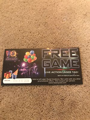 Laser quest ticket for Sale in Spokane, WA