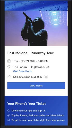Post Malone at the The Forum 11/21 for Sale in Inglewood, CA
