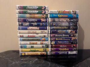 25 VHS tape Lot - big boxed style case - Disney/Pixar/WB for Sale in Warren, MI