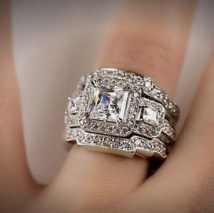 925 sterling silver shiny diamond gift fashion wedding party ring set full diamond engagement jewelry ring 3pcs/set size 8 for Sale in Riverside, CA