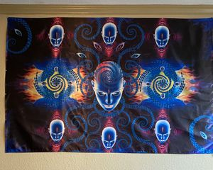 Black lighted high quality tapestry (back drop) LED (shines in light) for Sale in Fresno, CA