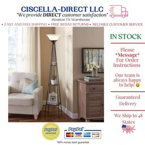 Black 69 Inch Floor Lamp Book Ornament Shelf Metal Uplight Stand Living Room Bedroom Etagere for Sale in Houston, TX