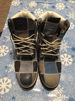 Blue, grey and black Timberland Patchwork Work Boots for Sale in Lexington, SC