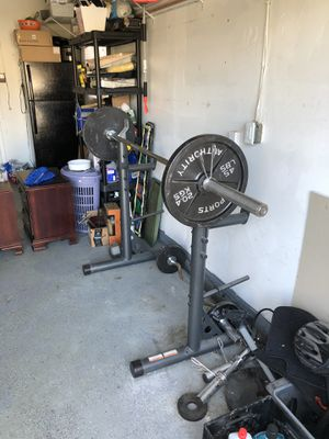 Weights/Barbell/Curlbar/Adjustable Rack Set for Sale in Bowie, MD