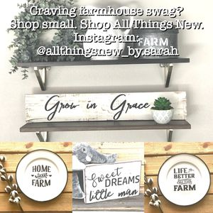 Wood Sign, Farmhouse Sign, Rustic Sign, Farmhouse Decor, Enamelware, Nursery Decor, Farmhouse Decor, Inspirational, Scripture Wood Sign, White and Bl for Sale in Covina, CA
