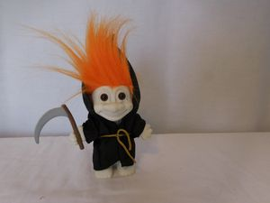 """Troll Russ Grim Reaper Troll Doll Orange Hair 5"""" Halloween With Scythe Sickle tiny black marks on face needs to be cleaned for Sale in Lake Elsinore, CA"""