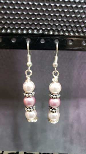 Pink & White Swarovski Pearls with Silver Silver Spacers & Fish Hook Earrings for Sale, used for sale  Wareham, MA
