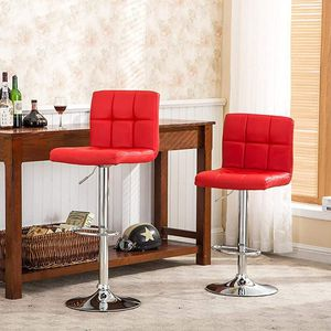 Set of 2 Kitchen Stools Chairs for Bar Modern PU Leather Swivel Stool Bar Chairs with Back (Red) for Sale in New York, NY
