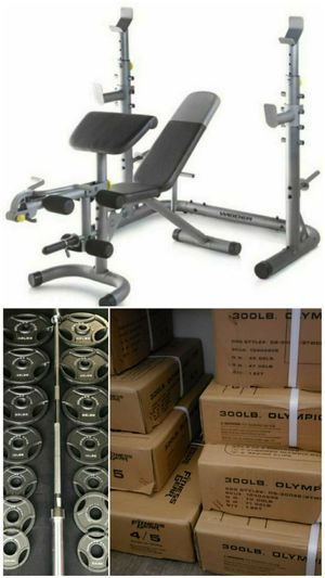 Weider XRS 20 adjustable Olympic workout bench with independent squat rack and preacher curl for Sale in San Bernardino, CA